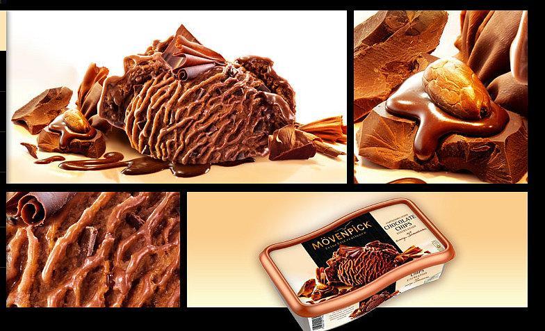 Mövenpickverpackung Eiscreme Schokolade  mit verschiedenen Details