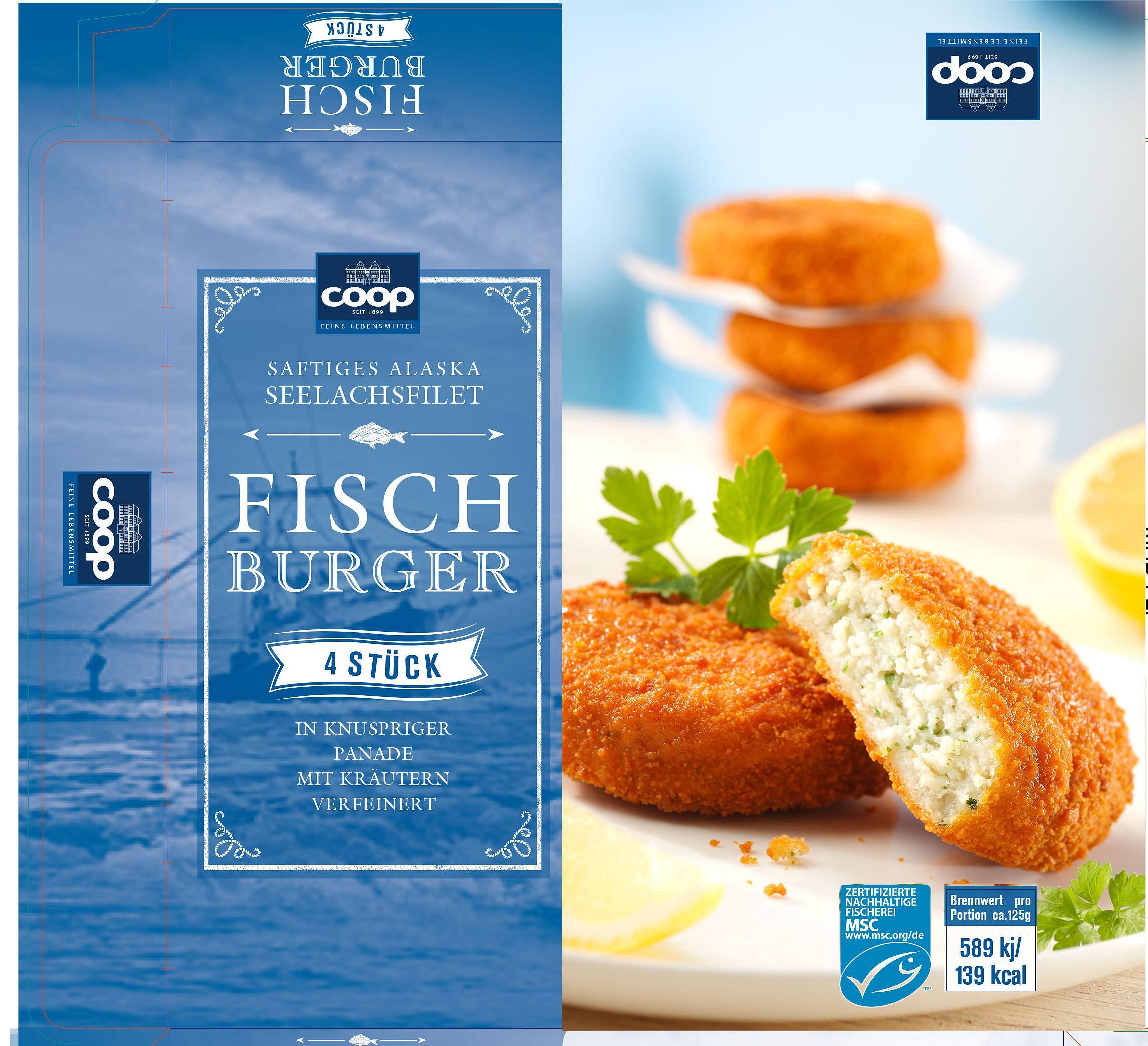 Coop Fischburger Verpackung