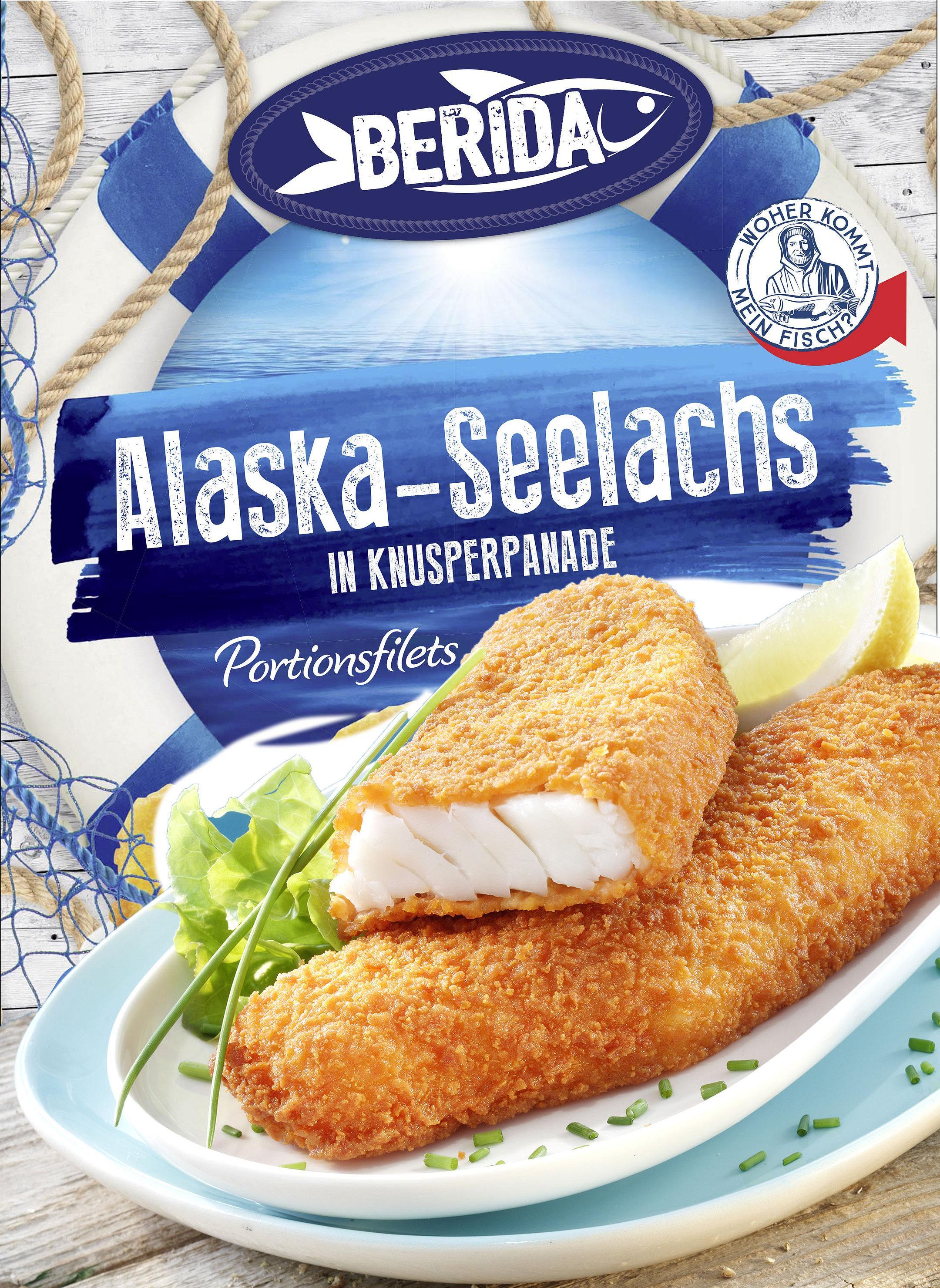 Alaska Seelachsfilets  in Knusperpanade auf Teller
